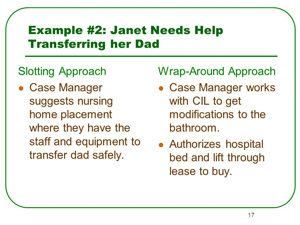17 Example #2: Janet Needs Help Transferring her Dad Slotting Approach Case Manager suggests nursing home placement where they have the staff and equipment to transfer dad safely.
