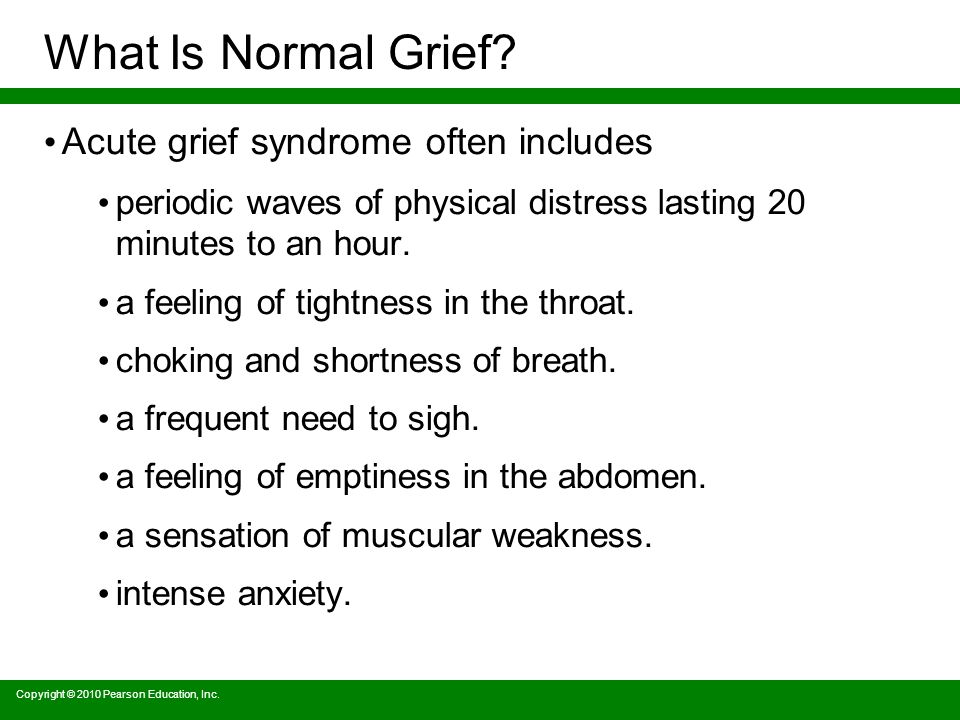 Copyright © 2010 Pearson Education, Inc. What Is Normal Grief.