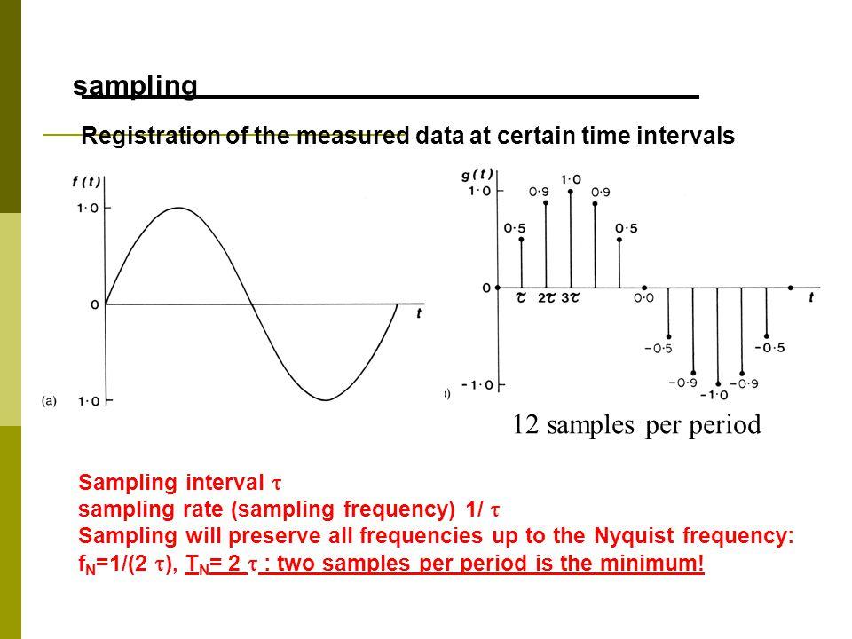 (Kearey and Brooks, 1991) Registration of the measured data at certain time intervals Sampling interval  sampling rate (sampling frequency) 1/  Sampling will preserve all frequencies up to the Nyquist frequency: f N =1/(2  ), T N = 2  : two samples per period is the minimum.