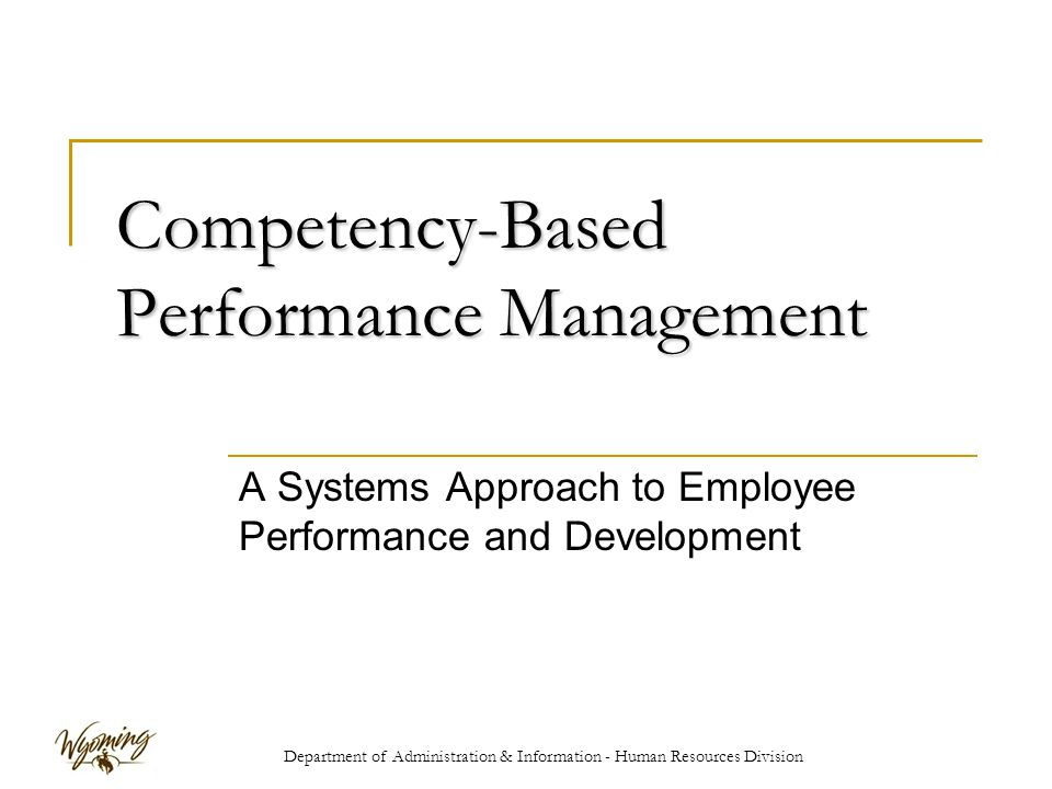 Department of Administration & Information - Human Resources Division Competency-Based Performance Management A Systems Approach to Employee Performance and Development