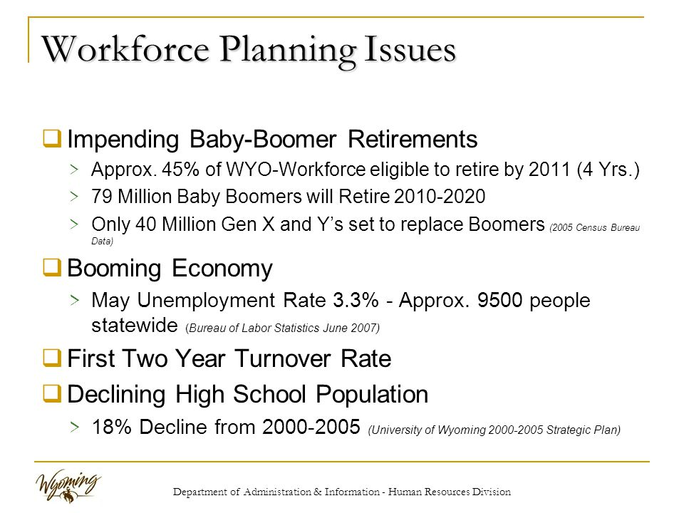 Department of Administration & Information - Human Resources Division Workforce Planning Issues  Impending Baby-Boomer Retirements > Approx.
