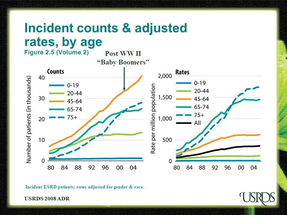USRDS 2008 ADR Incident counts & adjusted rates, by age Figure 2.5 (Volume 2) Incident ESRD patients; rates adjusted for gender & race.