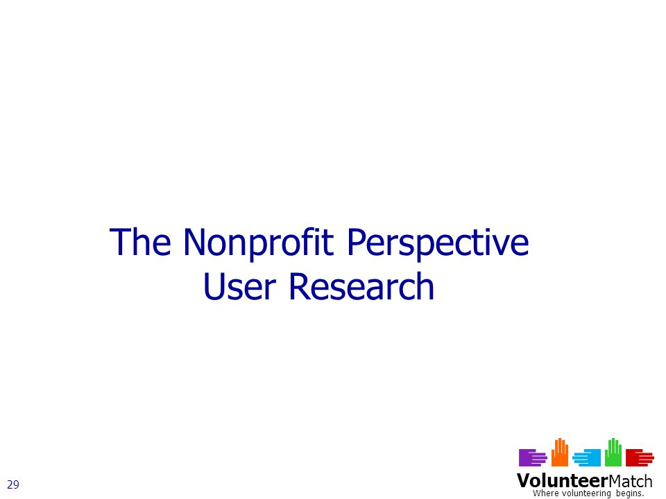 Volunteer Match Where volunteering begins. 29 The Nonprofit Perspective User Research
