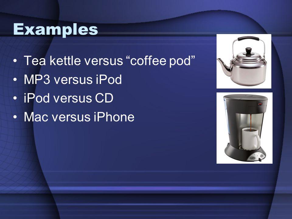 """Examples Tea kettle versus """"coffee pod"""" MP3 versus iPod iPod versus CD Mac versus iPhone"""