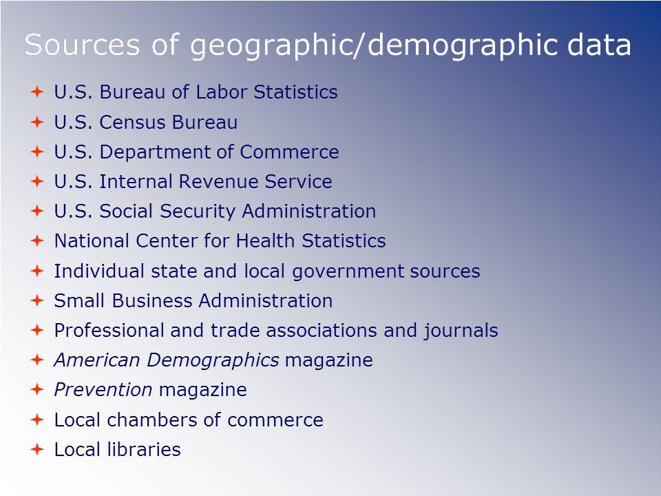 Sources of geographic/demographic data  U.S.Bureau of Labor Statistics  U.S.