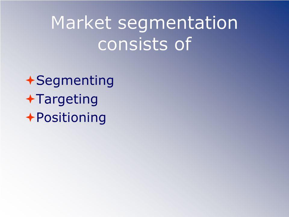 Market segmentation consists of  Segmenting  Targeting  Positioning