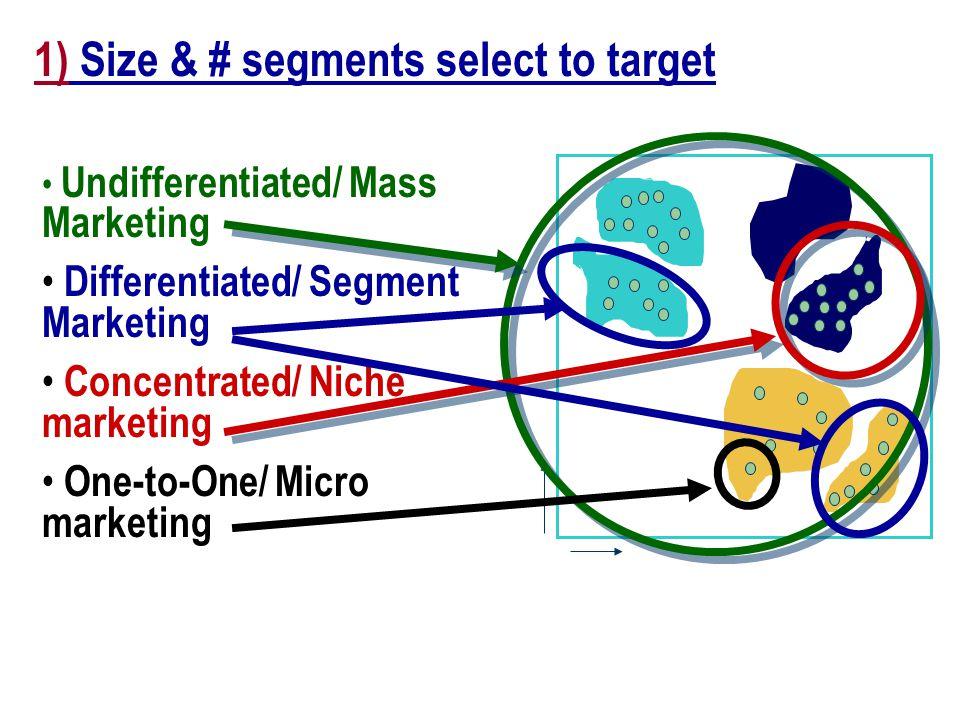 Key Segmentation Decisions: 1. Size & # segments u select to target 2.