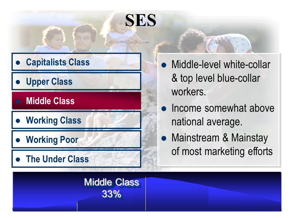 Middle Class Working Class Working Poor The Under Class Upper Class 14% Upper managers, professionals, Income nearly twice the national average.