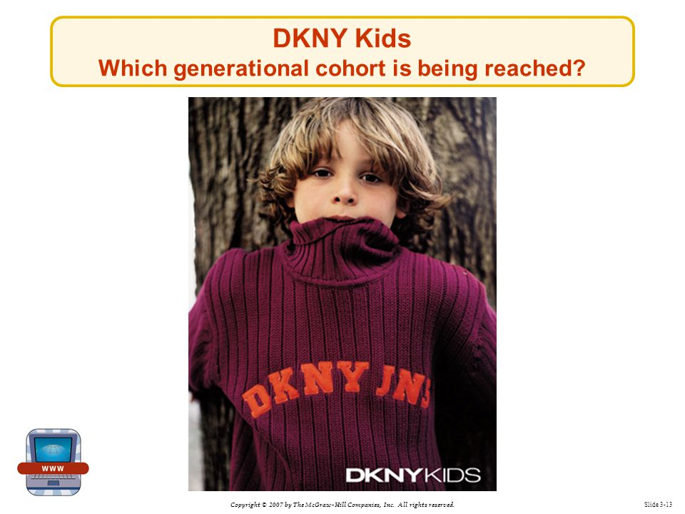 Copyright © 2007 by The McGraw-Hill Companies, Inc. All rights reserved. Slide 3-13 DKNY Kids Which generational cohort is being reached?