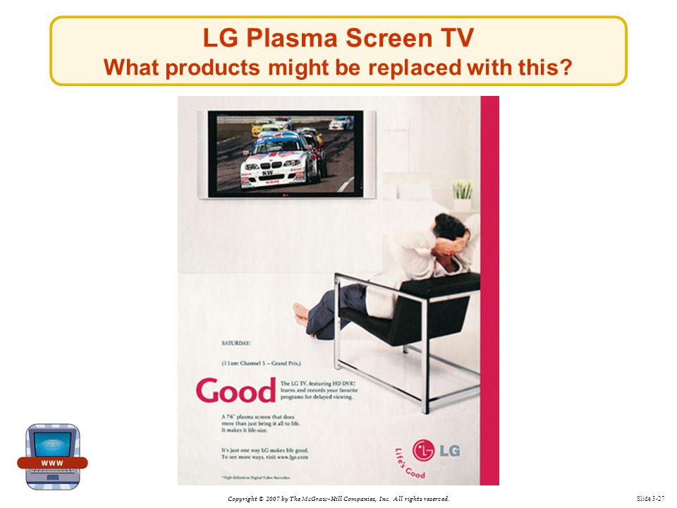 Copyright © 2007 by The McGraw-Hill Companies, Inc. All rights reserved. Slide 3-27 LG Plasma Screen TV What products might be replaced with this?