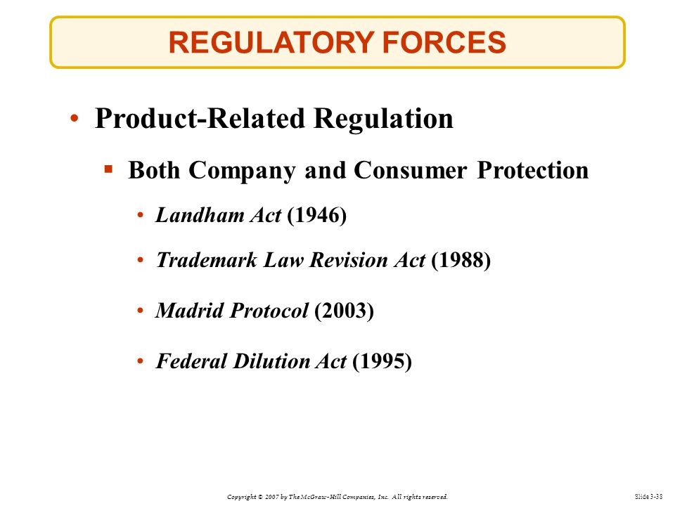 Copyright © 2007 by The McGraw-Hill Companies, Inc. All rights reserved. Slide 3-38 REGULATORY FORCES  Both Company and Consumer Protection Landham A