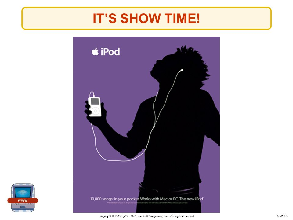 Copyright © 2007 by The McGraw-Hill Companies, Inc. All rights reserved. Slide 3-5 IT'S SHOW TIME!