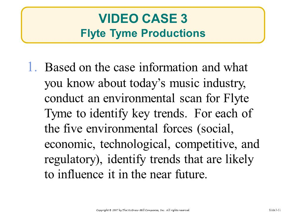 Copyright © 2007 by The McGraw-Hill Companies, Inc. All rights reserved. Slide 3-51 1. Based on the case information and what you know about today's m