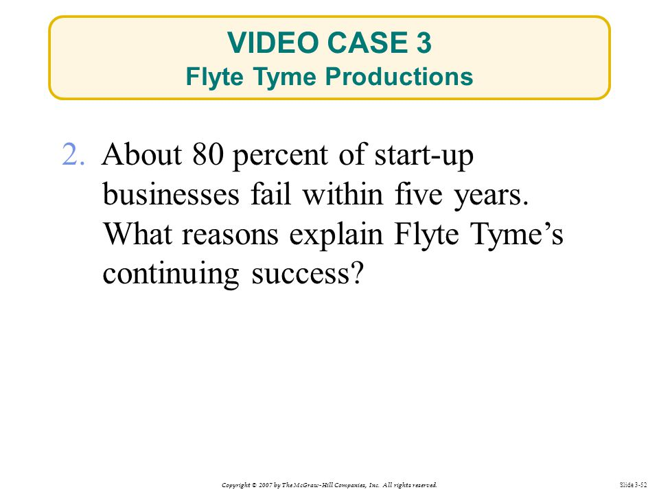 Copyright © 2007 by The McGraw-Hill Companies, Inc. All rights reserved. Slide 3-52 2. About 80 percent of start-up businesses fail within five years.