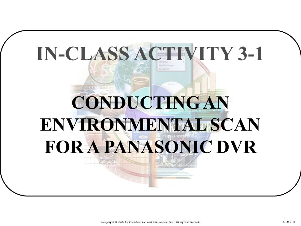 Copyright © 2007 by The McGraw-Hill Companies, Inc. All rights reserved. Slide 3-56 CONDUCTING AN ENVIRONMENTAL SCAN FOR A PANASONIC DVR IN-CLASS ACTI