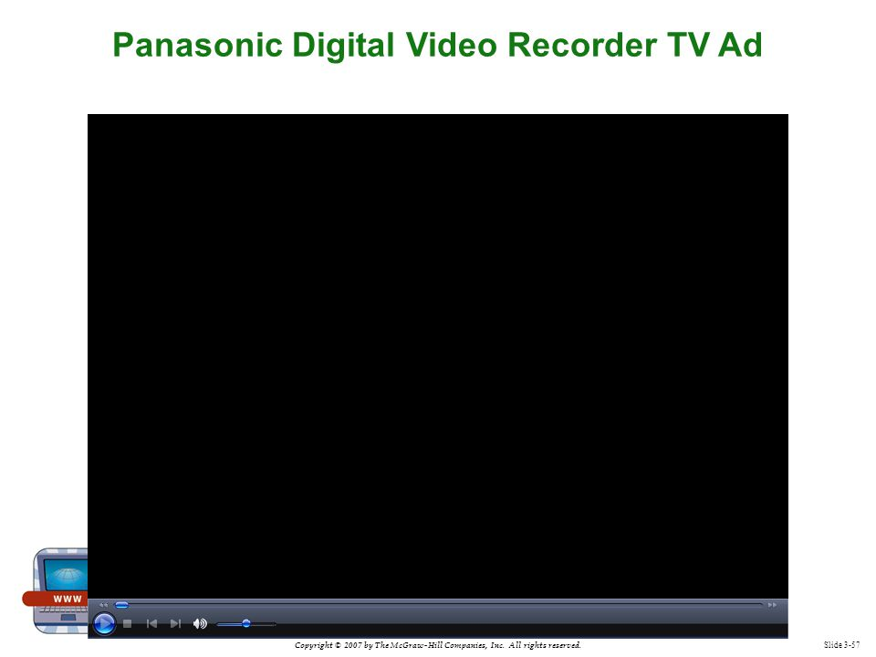 Copyright © 2007 by The McGraw-Hill Companies, Inc. All rights reserved. Slide 3-57 Panasonic Digital Video Recorder TV Ad