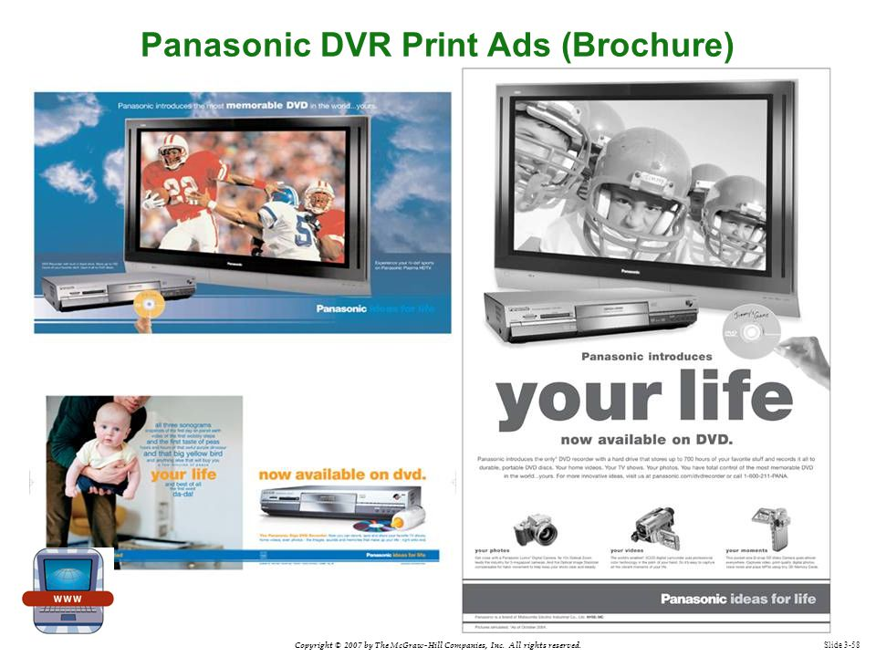 Copyright © 2007 by The McGraw-Hill Companies, Inc. All rights reserved. Slide 3-58 Panasonic DVR Print Ads (Brochure)