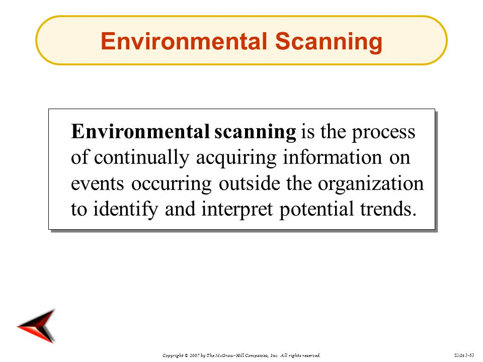 Copyright © 2007 by The McGraw-Hill Companies, Inc. All rights reserved. Slide 3-63 Environmental Scanning Environmental scanning is the process of co