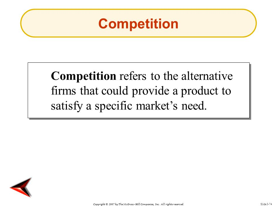 Copyright © 2007 by The McGraw-Hill Companies, Inc. All rights reserved. Slide 3-74 Competition refers to the alternative firms that could provide a p