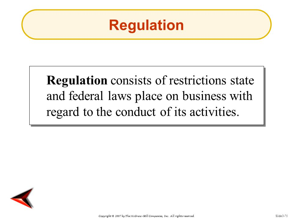 Copyright © 2007 by The McGraw-Hill Companies, Inc. All rights reserved. Slide 3-75 Regulation consists of restrictions state and federal laws place o