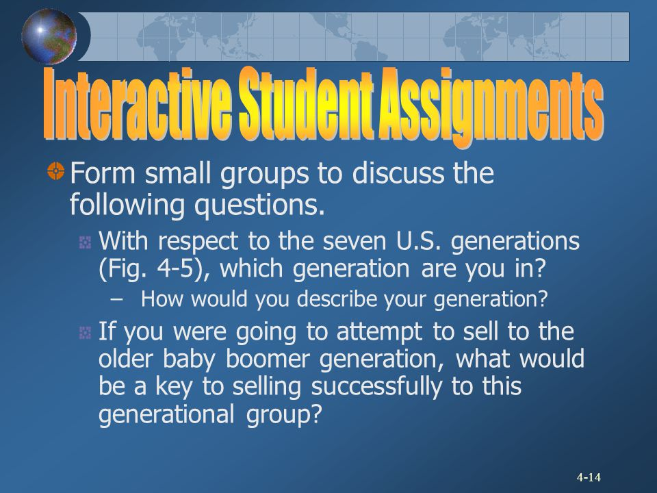 4-14 Form small groups to discuss the following questions. With respect to the seven U.S. generations (Fig. 4-5), which generation are you in? – How w