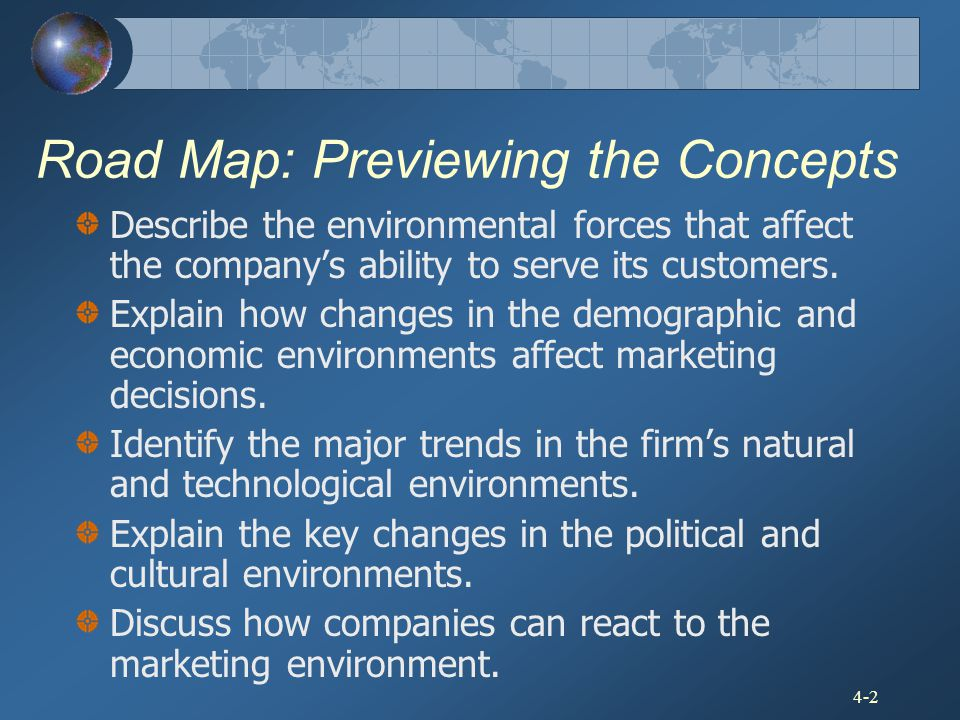 4-2 Road Map: Previewing the Concepts Describe the environmental forces that affect the company's ability to serve its customers. Explain how changes