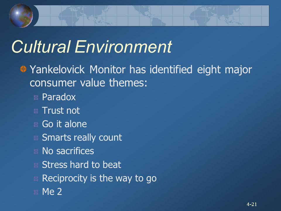 4-21 Cultural Environment Yankelovick Monitor has identified eight major consumer value themes: Paradox Trust not Go it alone Smarts really count No s