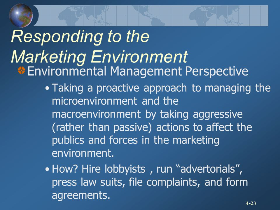 4-23 Responding to the Marketing Environment Environmental Management Perspective Taking a proactive approach to managing the microenvironment and the