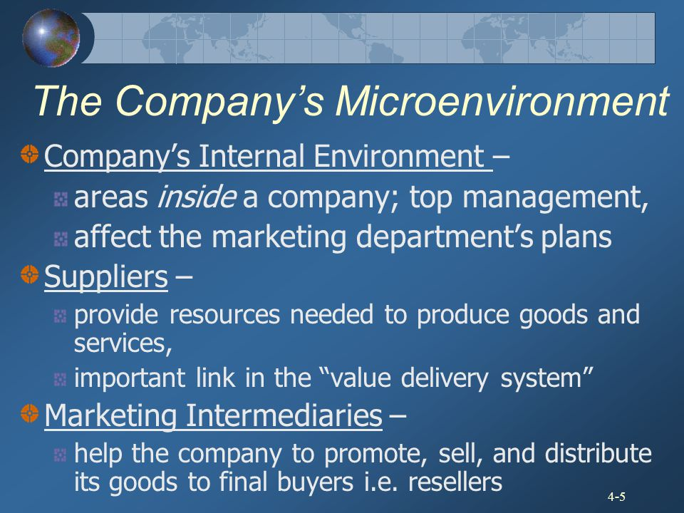 4-5 The Company's Microenvironment Company's Internal Environment – areas inside a company; top management, affect the marketing department's plans Su
