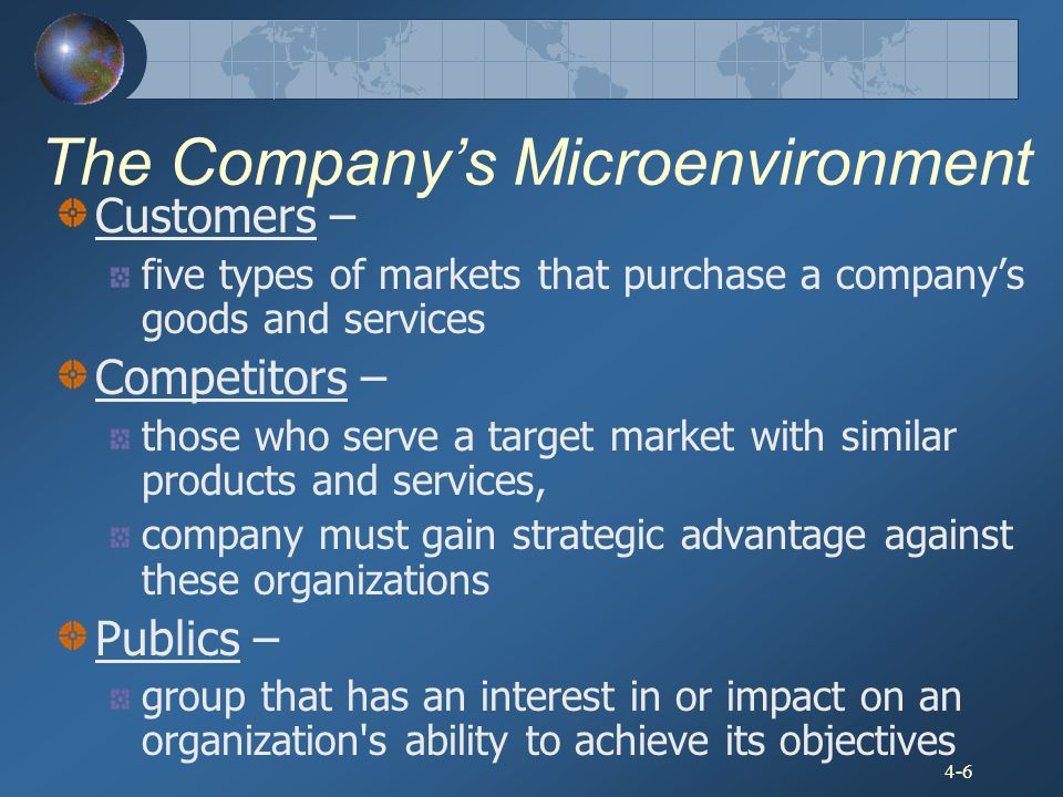4-6 The Company's Microenvironment Customers – five types of markets that purchase a company's goods and services Competitors – those who serve a targ