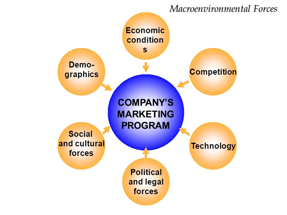 COMPANY'S MARKETING PROGRAM Demo- graphics Economic condition s Political and legal forces Social and cultural forces Competition Technology Macroenvi