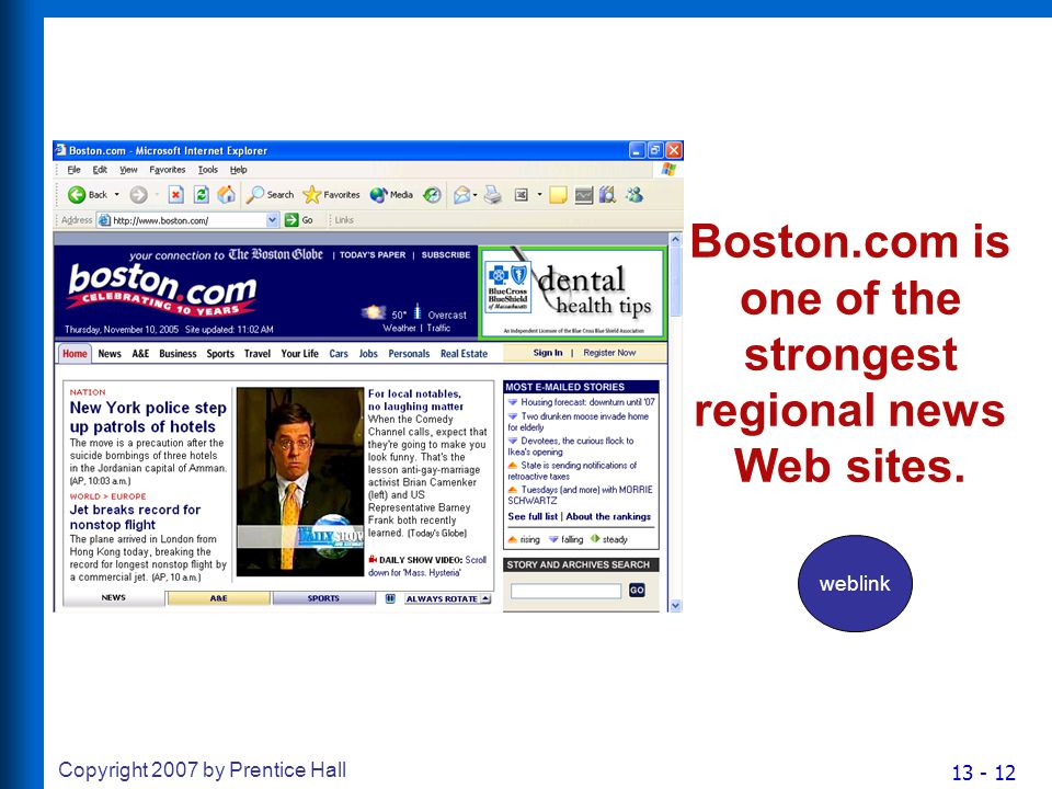 13 - 12 Copyright 2007 by Prentice Hall Boston.com is one of the strongest regional news Web sites.