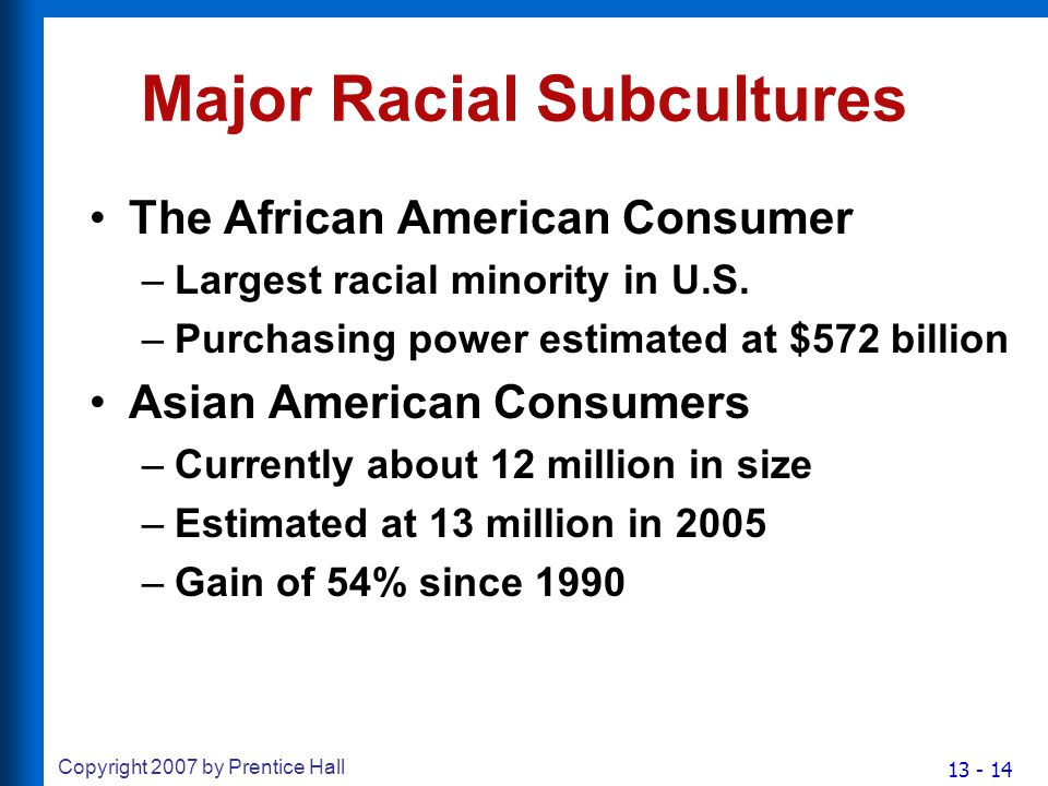 13 - 14 Copyright 2007 by Prentice Hall Major Racial Subcultures The African American Consumer –Largest racial minority in U.S.
