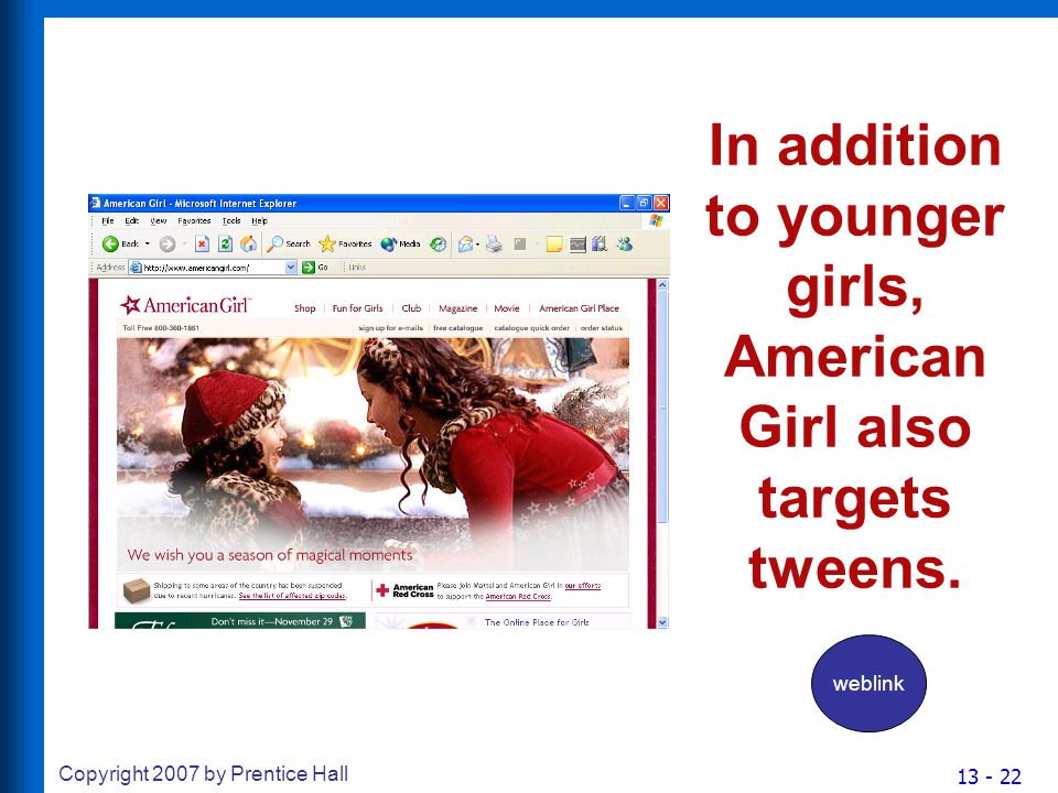 13 - 22 Copyright 2007 by Prentice Hall In addition to younger girls, American Girl also targets tweens.