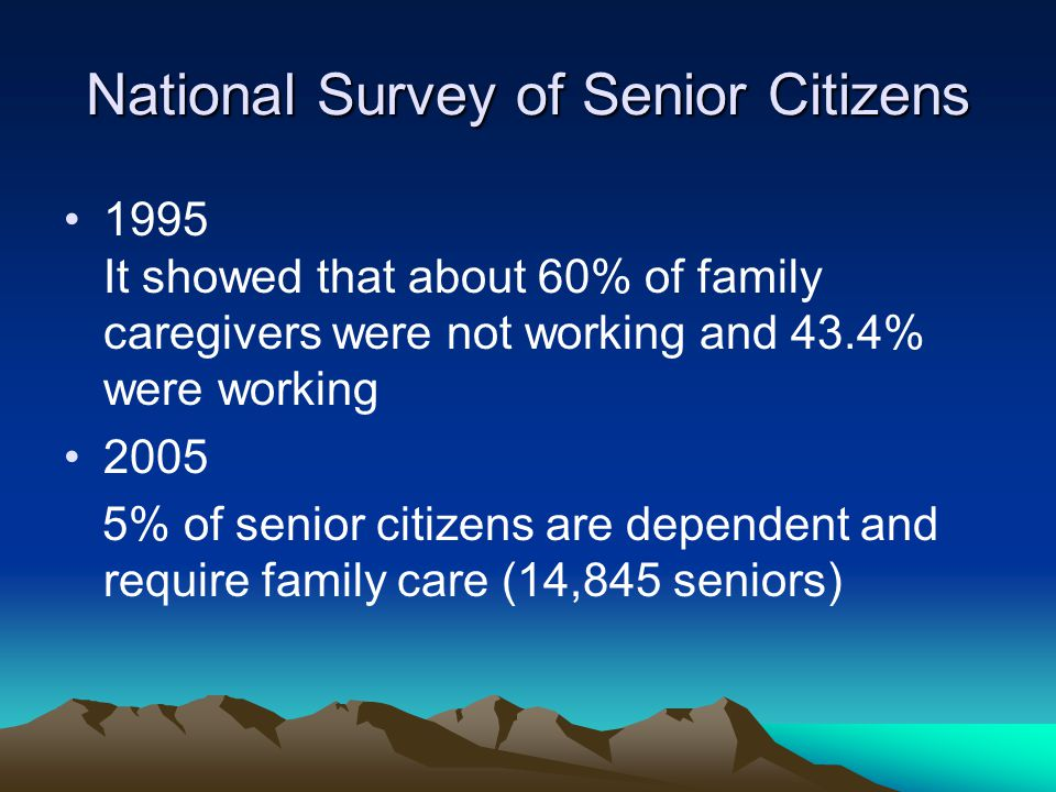 NUS Research A survey (2006) done on 323 family caregivers showed that 54% were working and 40% were housewives or retirees Stressors faced by the working caregivers can be different from the non-working Age of caregivers is important eg.