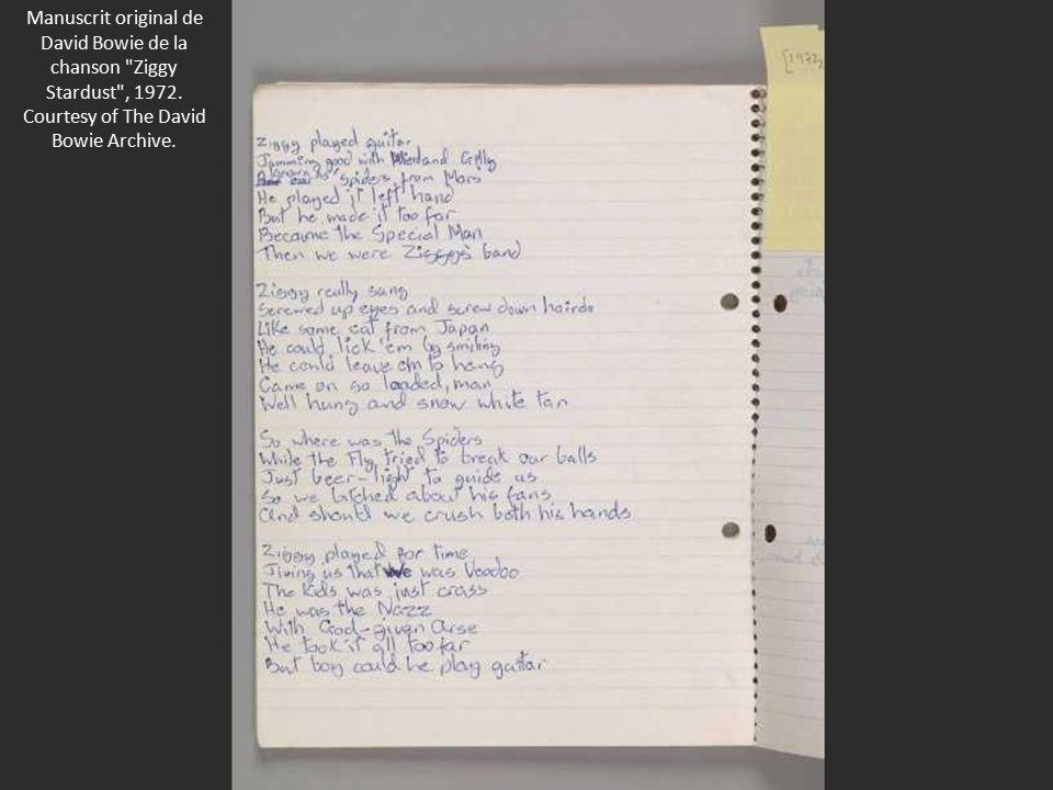Manuscrit original de David Bowie de la chanson Ziggy Stardust , 1972.