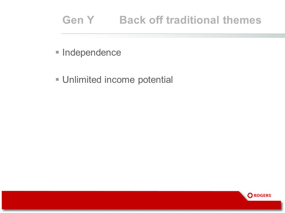 Gen YBack off traditional themes  Independence  Unlimited income potential