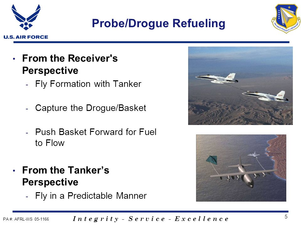 I n t e g r i t y - S e r v i c e - E x c e l l e n c e 5 Probe/Drogue Refueling From the Receiver s Perspective - Fly Formation with Tanker - Capture the Drogue/Basket - Push Basket Forward for Fuel to Flow From the Tanker's Perspective - Fly in a Predictable Manner PA #: AFRL-WS 05-1166