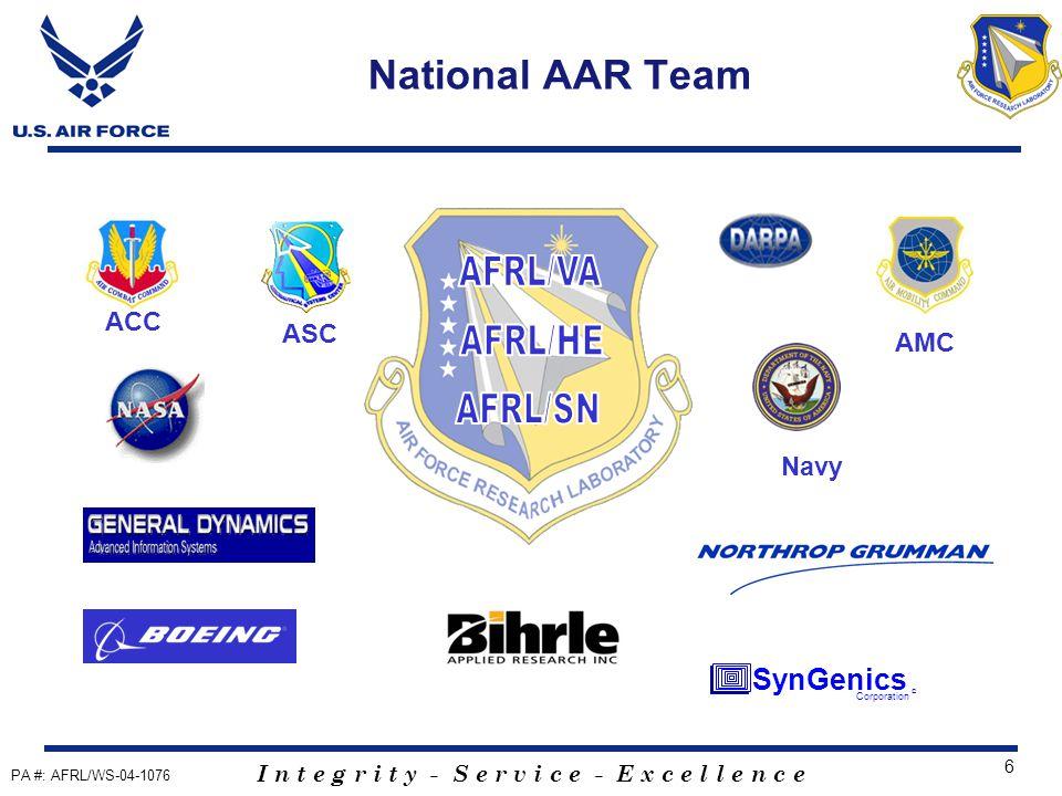 I n t e g r i t y - S e r v i c e - E x c e l l e n c e 6 National AAR Team ACC AMC ASC Corporation SynGenics © Navy PA #: AFRL/WS-04-1076
