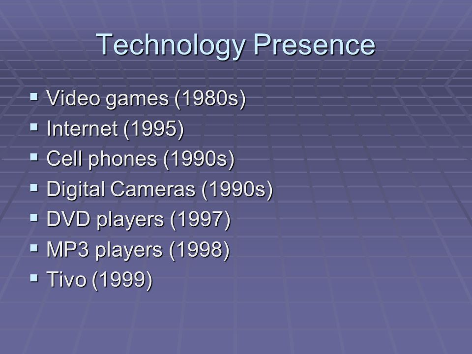 Technology Presence  Video games (1980s)  Internet (1995)  Cell phones (1990s)  Digital Cameras (1990s)  DVD players (1997)  MP3 players (1998)  Tivo (1999)