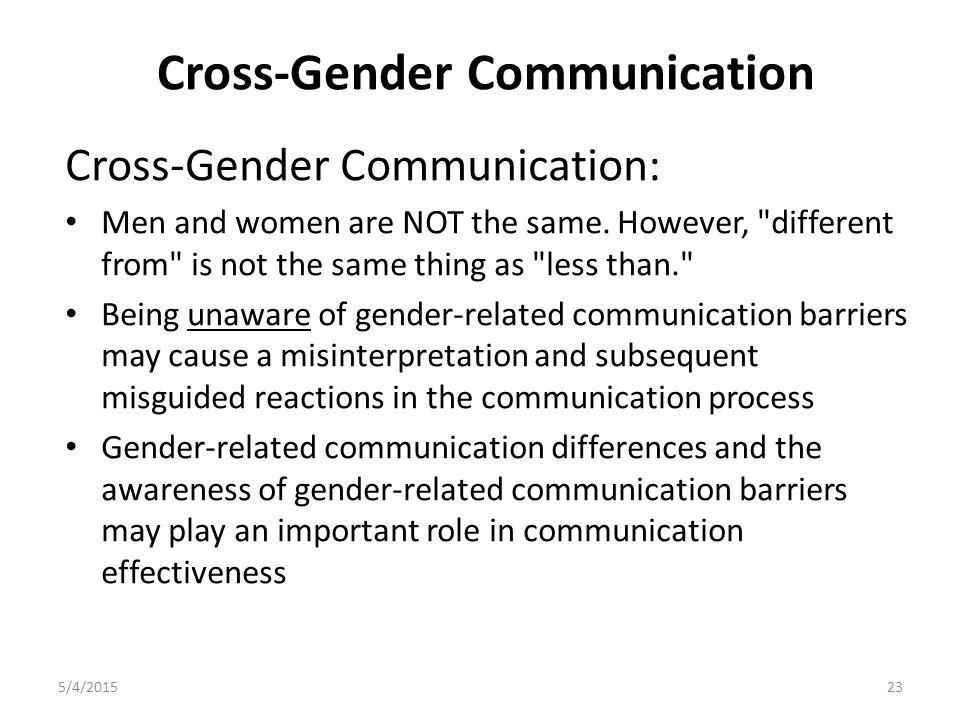 Cross-Gender Communication Cross-Gender Communication: Men and women are NOT the same.