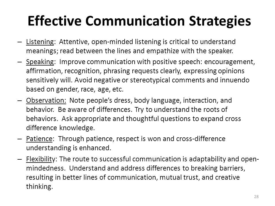 Effective Communication Strategies – Listening: Attentive, open-minded listening is critical to understand meanings; read between the lines and empath