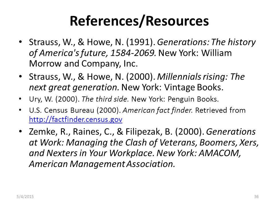 References/Resources Strauss, W., & Howe, N. (1991).