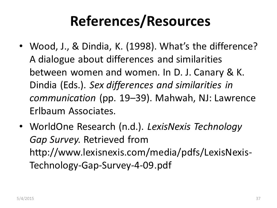 References/Resources Wood, J., & Dindia, K. (1998).