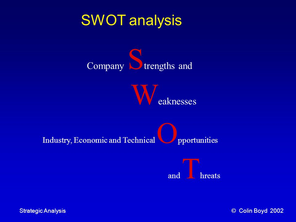 © Colin Boyd 2002Strategic Analysis Process Innovation Environmental Threats and Opportunities Technological Breakthrough multi-screen cinemas on a single-screen footprint computers replacing secretaries in Commerce home wine-making Apple Computer and Apple Corp.