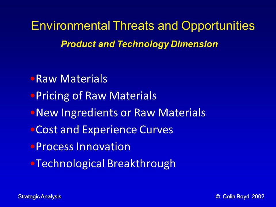 © Colin Boyd 2002Strategic Analysis Environmental Threats and Opportunities Product and Technology Dimension Raw Materials Pricing of Raw Materials New Ingredients or Raw Materials Cost and Experience Curves Process Innovation Technological Breakthrough