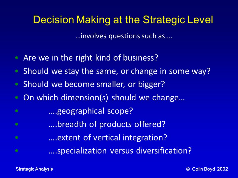 © Colin Boyd 2002Strategic Analysis Decision Making at the Strategic Level …involves questions such as….