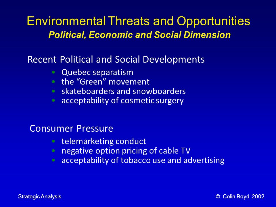 © Colin Boyd 2002Strategic Analysis Environmental Threats and Opportunities Political, Economic and Social Dimension Economic Developments Population Change the boom and bust economic cycle counter-cyclical businesses seasonality other economic cycles drivers of demand – direct or derived.