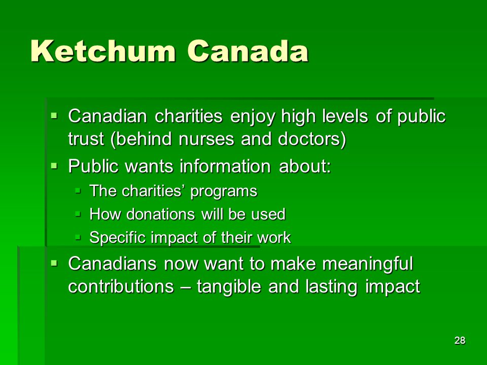 28 Ketchum Canada  Canadian charities enjoy high levels of public trust (behind nurses and doctors)  Public wants information about:  The charities' programs  How donations will be used  Specific impact of their work  Canadians now want to make meaningful contributions – tangible and lasting impact