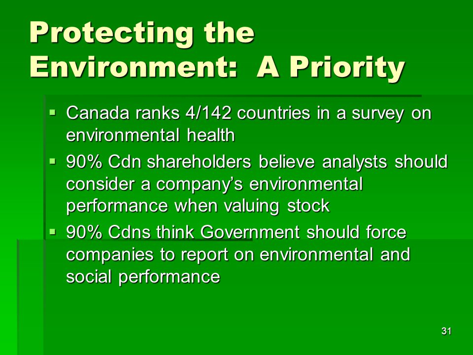 31  Canada ranks 4/142 countries in a survey on environmental health  90% Cdn shareholders believe analysts should consider a company's environmental performance when valuing stock  90% Cdns think Government should force companies to report on environmental and social performance Protecting the Environment: A Priority